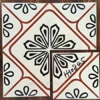 西班牙几何抽象彩砖背景墙花片瓷砖防滑地板砖小花砖300*300